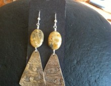 Dody's tray and fossil bead earrings #423