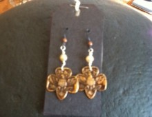 Girl Scout pin and pearls earrings #434
