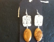 Indian tray and fossil bead earrings #429