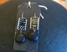 Black metal ruler and black bead earrings #175