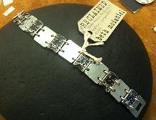 Black metal ruler and steel bracelet #146