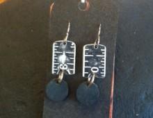 Black metal ruler and blue Bingo pieces earrings #38