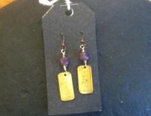 Brass ruler and purple bead earrings #317