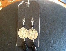 Mercury Head dimes and black bead earrings #300