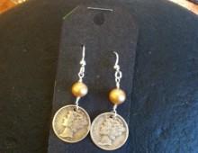 Mercury Head dimes and pearl earrings #433