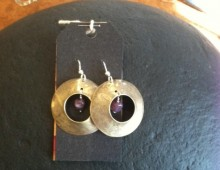Goblet circles and purple bead earrings #425