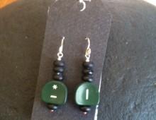 Green typewriter key earrings #283