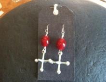 Jacks and red bead earrings #187