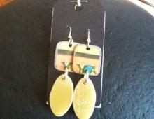 "Surfboard ""skag"" and tin earrings #157"