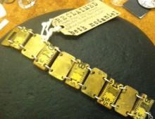 Wood Ruler Bracelet with Brass #136